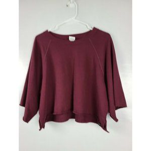 Victoria Secret Sz M Maroon Cropped Sweatshirt Top